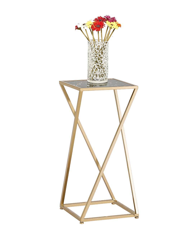 Zicue - Portavaso da Giardino per vasi di Fiori, in Ferro Resistente, Semplice e Moderno, Quadrato, in Marmo, da Pavimento, Multifunzione, Supporto per vasi di Fiori (Dimensioni  34 x 34 x 75 cm)