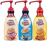 Coffee Mate Liquid Concentrate 1.5 Liter Pump Bottle - Variety 3 Pack (Original Sweetened Cream, French Vanilla & Hazelnut)