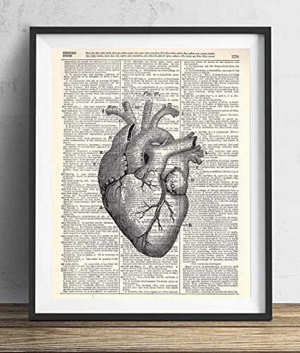 Anatomical Heart Vintage Upcycled Dictionary Art Print 8x10