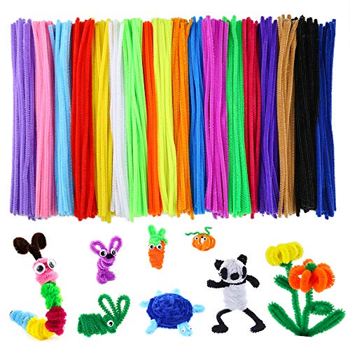 Caydo 700 Pieces Assorted Colors Chenille Stems Pipe Cleaners 6 mm x 12 Inch for DIY Art Supplies ()
