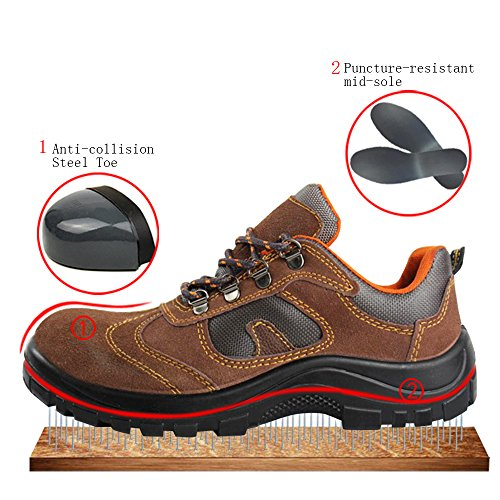 Shoes Safety Brown Optimal Toe Comp Shoes Work Steel Shoes Men's H585qxw1