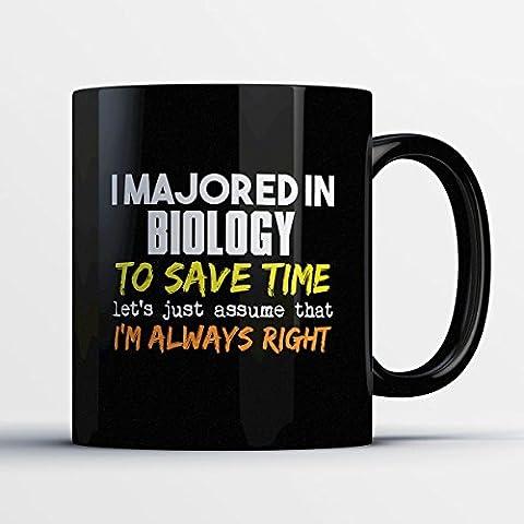 Biology Coffee Mug - I Majored In Biology - Funny 11 oz Black Ceramic Tea Cup - Humorous and Cute Biology Major Gifts with Biology (Ap Biology Barrons 5th)