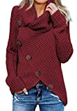 Asvivid Womens Fashion Cowl Neck Irregular Crossover Wrap Sweater Plain Baggy Cute Juniors Pullover Outwear Plus Size 2X Wine