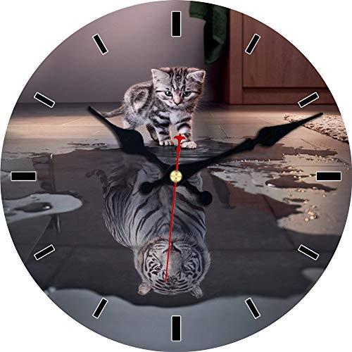 MEISTAR Animal Silent Non Ticking Wall Clock Quartz Movement Wall Clock Art Decor(Cat and Tiger)