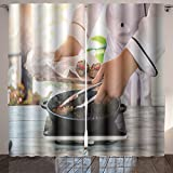 Nalahome tongs holding piece of meat male hand holds wooden board fried beef with chili pepper restaurant Dining Room Kids Youth Room Window Drapes 84x108 inches