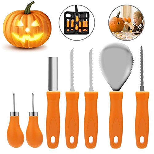Pumpkin Carving Kit, Halloween Pumpkin Carving Tools, Premium 7 Piece Reusable Sturdy Stainless Steel Pumpkin Tools Set for Adult And Child -