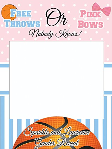 Custom Gender Reveal Photo Booth Frame - Sizes 36x24, 48x36; Basketball Baby Shower Photobooth, Handmade Decor, he or she Photo booth Prop Selfie Frame, Baby Shower Boy or Girl