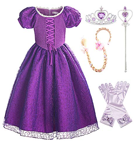 ReliBeauty Girls Princess Tangled Rapunzel Lace up Dress Costume with Accessories, 2T-3T/100 -