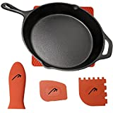 MABUA Pre Seasoned Cast Iron Skillet 12 inches Classic Cast Iron Frying Pan with Assist Handle. 4 Free Silicone Handle Grip, Mat, 2 Scrapers.