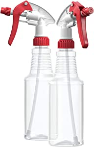 BAR5F Empty Plastic Spray Bottles 16 oz, BPA-Free Food Grade, Crystal Clear PETE1, Red/White M-Series Fully Adjustable Sprayer (Pack of 2)