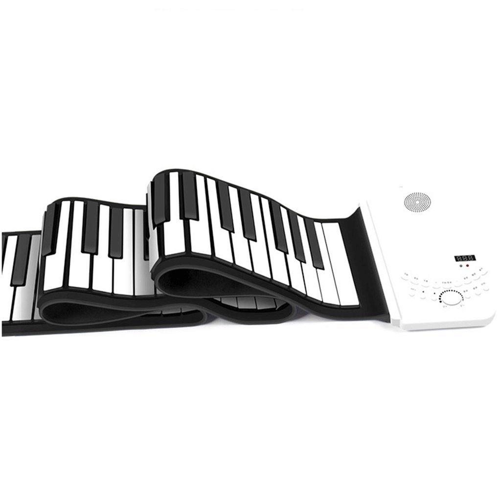 Kind Hand Roll Tastatur 88 Tasten Portable Professional Edition faltbare reine weiße Magie Horn + wiederaufladbare (Farbe : Weiß)