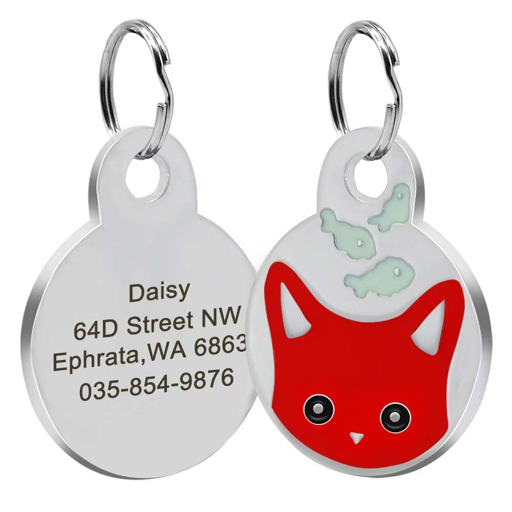 c7a745f7ecb5 Didog Personalized Cat ID Tags with Kitten Face &Fish Patterns, Custom  Engraved Pet ID Tags