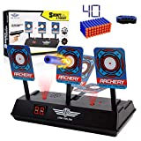 SWEE Electric Scoring Auto Reset Shooting Digital Target for Nerf Guns Blaster Elite/Mega/Rival Series with 40 Pcs Refill Darts and 1 Hand Wrist Bands …