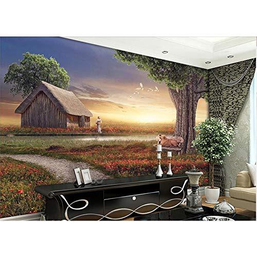 GMYANBZ 3D Wallpaper High-end Custom Mural Non-Woven Wall Sticker The Grass Hut Tree Painting Photo 3D Wall Room Murals Wallpaper ()