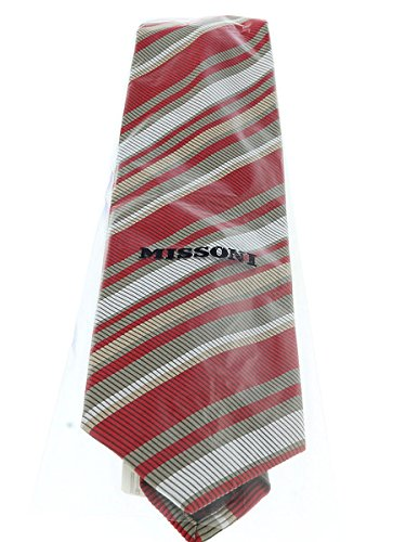 Missoni U4233 Red//Khaki Regimental 100/% Silk Tie for mens