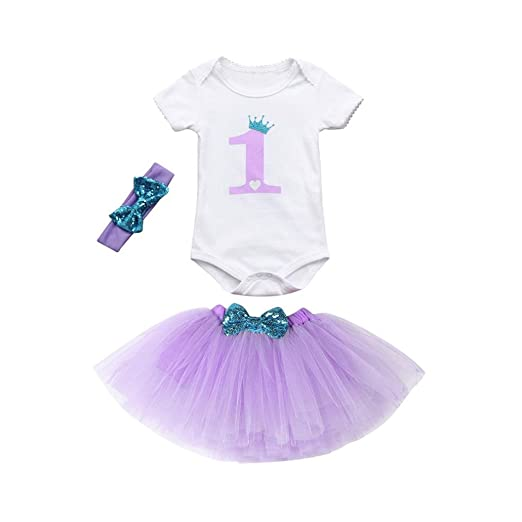 KONFA Toddler Infant Baby Girls One Print Romper Bowknot Tutu Dress HeadbandSuitable