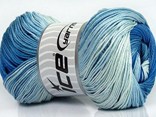 Lot of 4 x 100gr Skeins Ice Yarns CAMILLA COTTON MAGIC (100% Mercerized Cotton) Yarn Blue ()