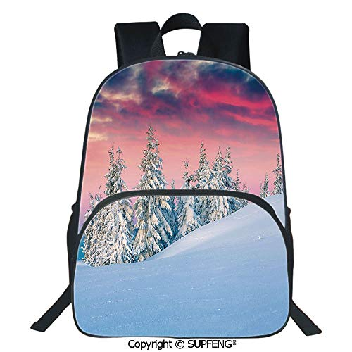 SCOXIXI Laptop Backpack Idyllic Scenery in Snow Covered Mountains Pine Tree Forest Majestic Sky Serenity (15.75