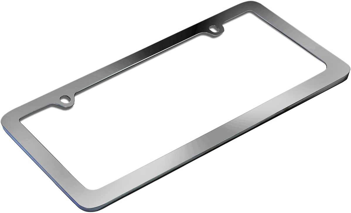 Motorup America Auto License Plate Frame Cover - Fits Select Vehicles Car Truck Van SUV - Thin Frame Chrome