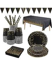 Yidaxing Zwart en goud partyservies, afbreekbaar, gouden dot, partyborden, set bevat servetten, papieren bekertjes, banner, tafelkleed voor bruidsdouche, verloving, bruiloft, verjaardag, Kerstmis, 24 gasten
