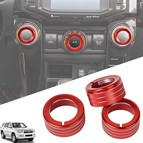 JeCar 4Runner Air Conditioning Switch Knob Cover Aluminum Alloy 4Runner Accessory Decoration Trim for Toyota 4Runner 2010 2011 2012 2013 2014 2015 2016 2017 2018 2019 Red 3Pcs