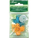 Clover 3109 Jumbo Locking Stitch Markers, blue, orange