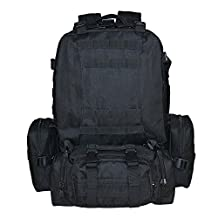 Military Tactical Backpack, TOPQSC 55L Large Tactical Backpack Outdoor Military Assault Backpack Combat Rucksack Trekking Bag Hiking Camping Mountain Climbing bag Combined with 3 MOLLE Bags