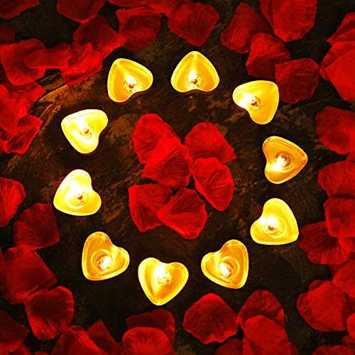- Tatuo 50 Pieces Heart Shape Candles Romantic Tealight Candles and 200 Pieces Silk Rose Petals Artificial Flower Petals for Valentine's Day Festival Wedding Birthday Party (Color Set 2)
