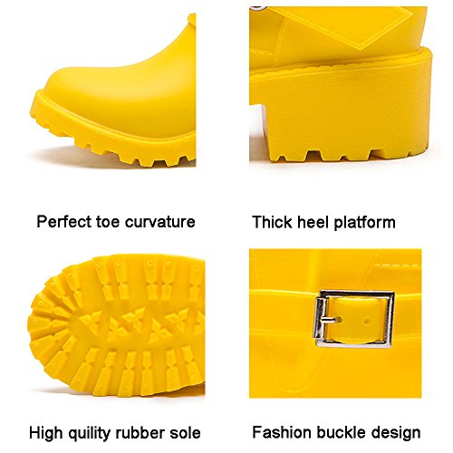 DKSUKO Womens Rain Boots with Elastic Adjust Waterproof -6 Colors-Motorcycle Boots for Girls JXC01 (7 B(M) US, Yellow) by DKSUKO (Image #4)