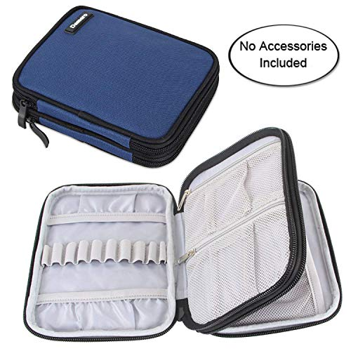 Semi Flight Case - Damero Crochet Hook Case, Organizer Zipper Bag with Web Pockets for Various Crochet Needles and Knitting Accessories, Well Made and Easy to Carry, Medium, Dark Blue (No Accessories Included)