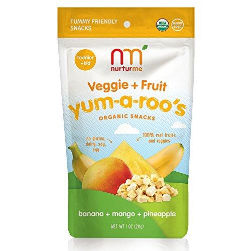 NurturMe Yum-A-Roo's Organic Toddler Snacks, Banana + Mango + Pineapple, 1 Ounce (Pack of 6)