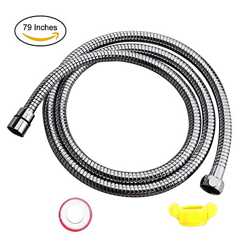 Shower Hose 79 inch 6.6 ft Bathroom HandHeld Showerhead Hose Extension Replacement Part with Brass Coupler,Polished Chrome (79