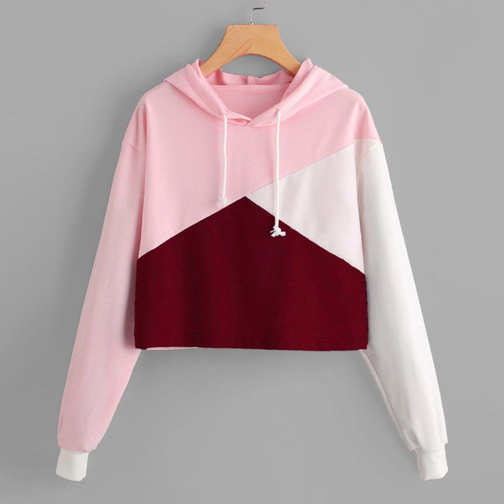 Sweatshirt Femme Imprim/é L, GRIS LMMVP Femmes Sweat /à Capuche Patchwork Manche Longue Pullover Sweat-shirt Chemisier