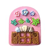Pink Lizard Plants Wooden Window Liquid Silicone Mold Fondant Cake Decorating Mould