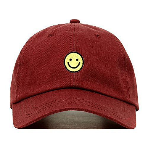 Happy Face Cap (Smiley Face Dad Hat, Embroidered Baseball Cap, 100% Cotton, Unstructured Low Profile, Adjustable Strap Back, 6 Panel, One Size Fits Most (Multiple Colors) (Burgundy))