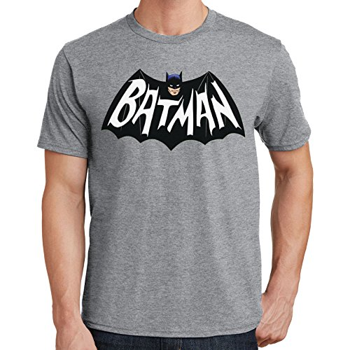 Batman Logo T-Shirt 1960's TV Series 3206 (Small, Sport Gray) -
