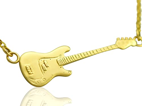 Maciza 9ct oro de guardabarros guitarra baja Precisión - collar ...