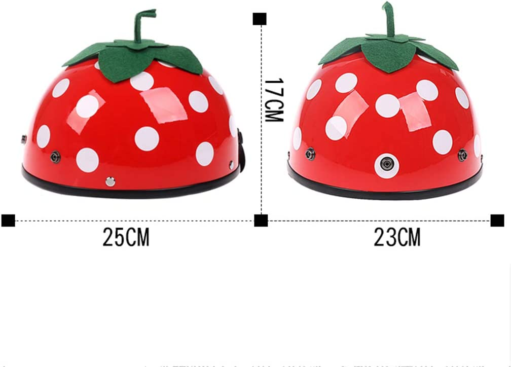 Gr/ö/ße : M XiuXiu Helm Weibliche Nette Sommer Tragbare Schutzhelm Vier Jahreszeiten Universal Sonnencreme Halbe Helm Erdbeere Erwachsene Elektrische Motorrad