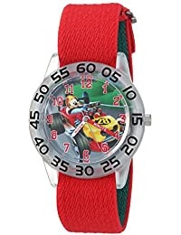Boy's 'Mickey Mouse' Quartz Plastic and Nylon Casual Watch, Color:Red (Model: WDS000213)