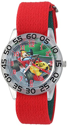 Disney Boy's 'Mickey Mouse' Quartz Plastic and Nylon Casual Watch, Color:Red (Model: WDS000213)