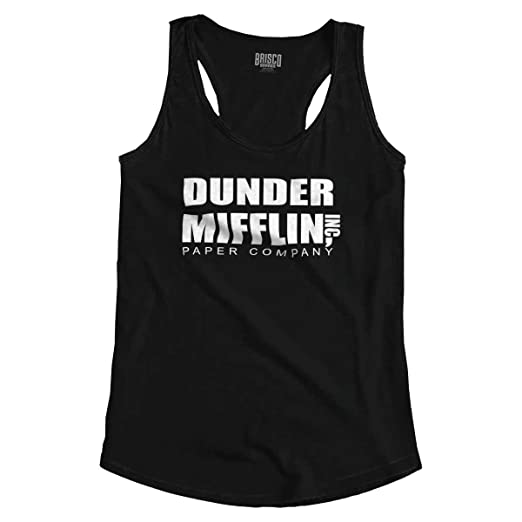 a11a6ab35 Dunder Paper Company Mifflin Office TV Show Racerback Tank Top Black. Roll  over image to ...