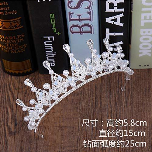 Wedding Crown, Beautiful headdress/Bridal Crown Luxurious Crystal Pearl Crown Wedding Headwear Super Fairy White Wedding Accessories. by Junson (Image #2)