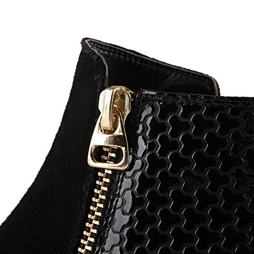 Allhqfashion Women's Low-top Zipper Soft Material Low-Heels Round Closed Toe Boots Black KDoCjm9