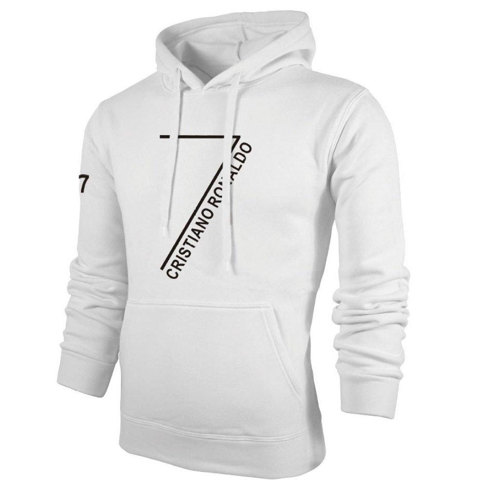 WEII Juventus Club Star C Ronaldo Sweat-Shirt Printemps et Automne Pull Polaire Sweat-Shirt /à Capuche Ronaldo Fans Sweater,Blanc,S