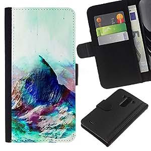 NEECELL GIFT forCITY // Billetera de cuero Caso Cubierta de protección Carcasa / Leather Wallet Case for LG G3 // Geometría psicodélico Montaña