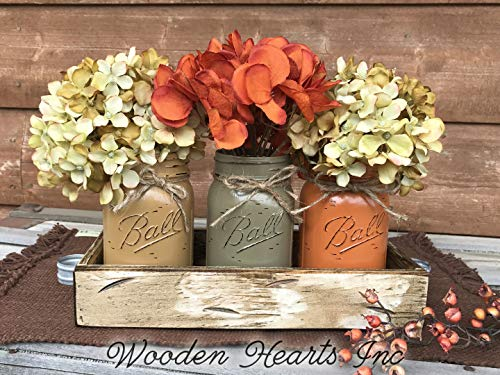 FALL Mason Canning JARS in Wood Antique White Tray Centerpiece with 3 Ball Pint Jar - Kitchen Table Decor - Distressed Rustic - Flowers (Optional) - Painted Jars Orange Mustard -