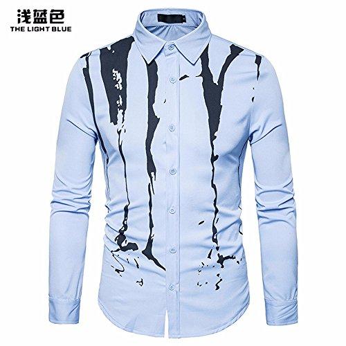 Landfox Camisa de manga larga casual para hombre Camisa de vestir slim fit Camisa estampada Top n4NuyL2b
