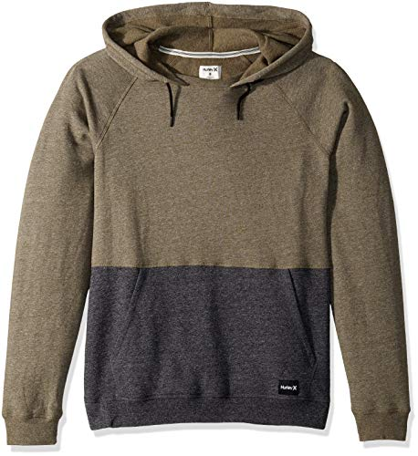 Hurley Men's Crone Marled Textured Pullover Hoodie, Olive Canvas Heather, L