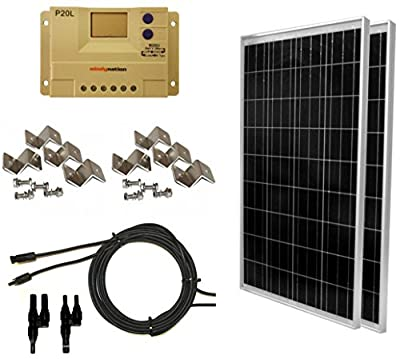 WindyNation Complete Solar 200 Watt Panel Kit: 200W Solar Panel + 20A LCD Display PWM Charge Controller + MC4 Connectors + Mounting Z Brackets for 12V Battery Off Grid, RV, Boat