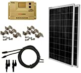 WindyNation 200 Watt (2pcs 100 Watt) Solar Panel Complete Off-Grid RV Boat Kit with LCD PWM Charge Controller + Solar Cable + MC4 Connectors + Mounting Brackets Solar Power And Accessories WindyNation
